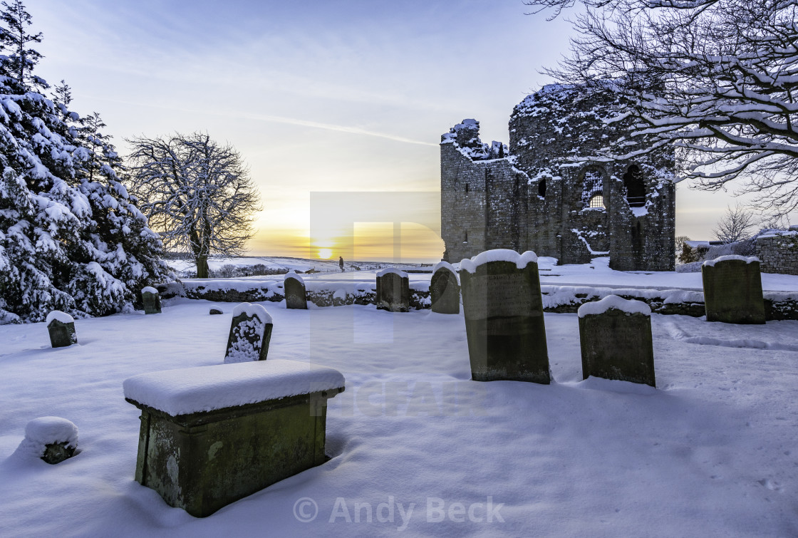 """""""Winter sunset at Bowes"""" stock image"""