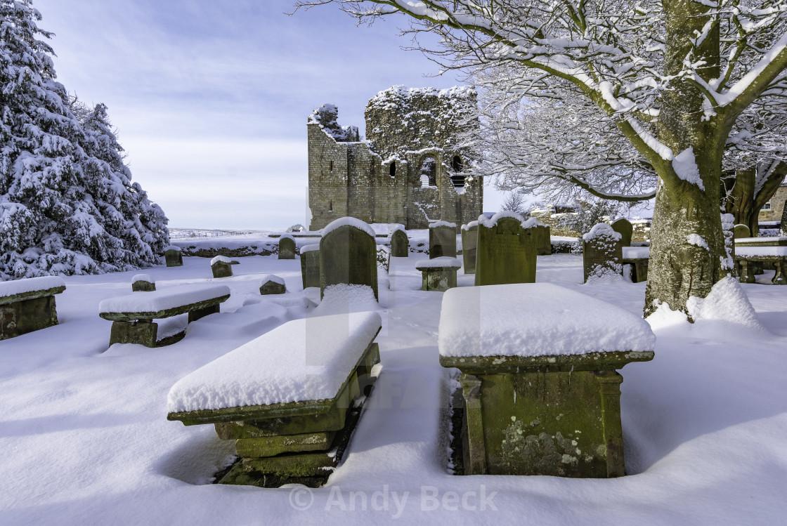 """""""Snowfall at Bowes"""" stock image"""