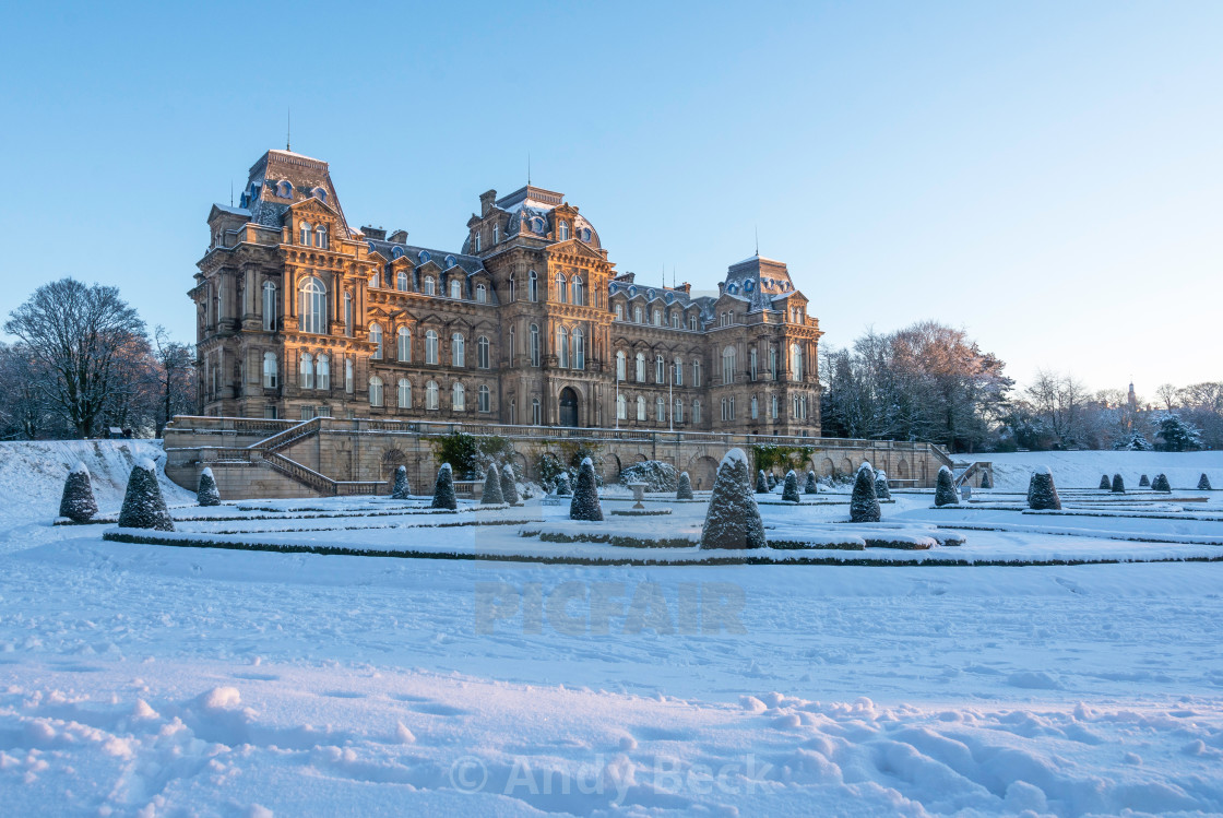 """""""First rays on Bowes Museum."""" stock image"""