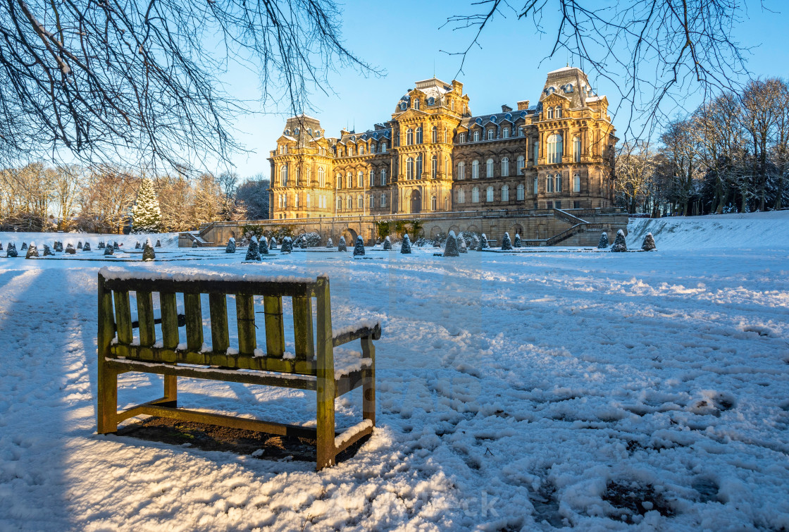 """""""Long shadows at The Bowes Museum."""" stock image"""