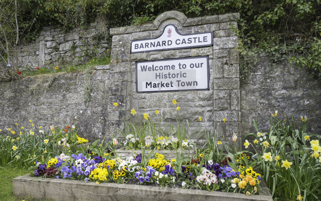 """""""Welcome to Barnard Castle"""" stock image"""