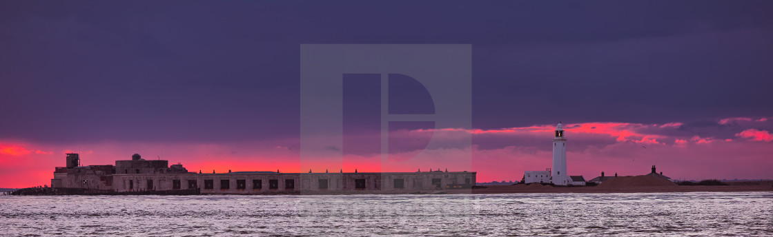 """Sunset over Lymington"" stock image"