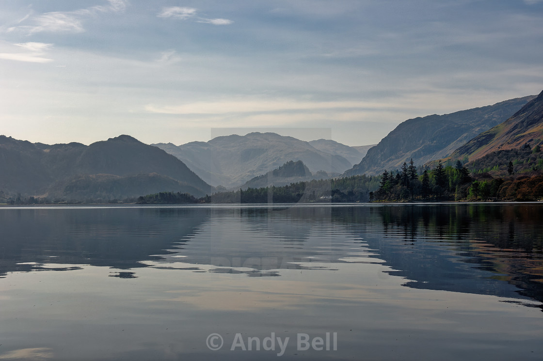 """""""Derwent Water and the Borrowdale Fells"""" stock image"""