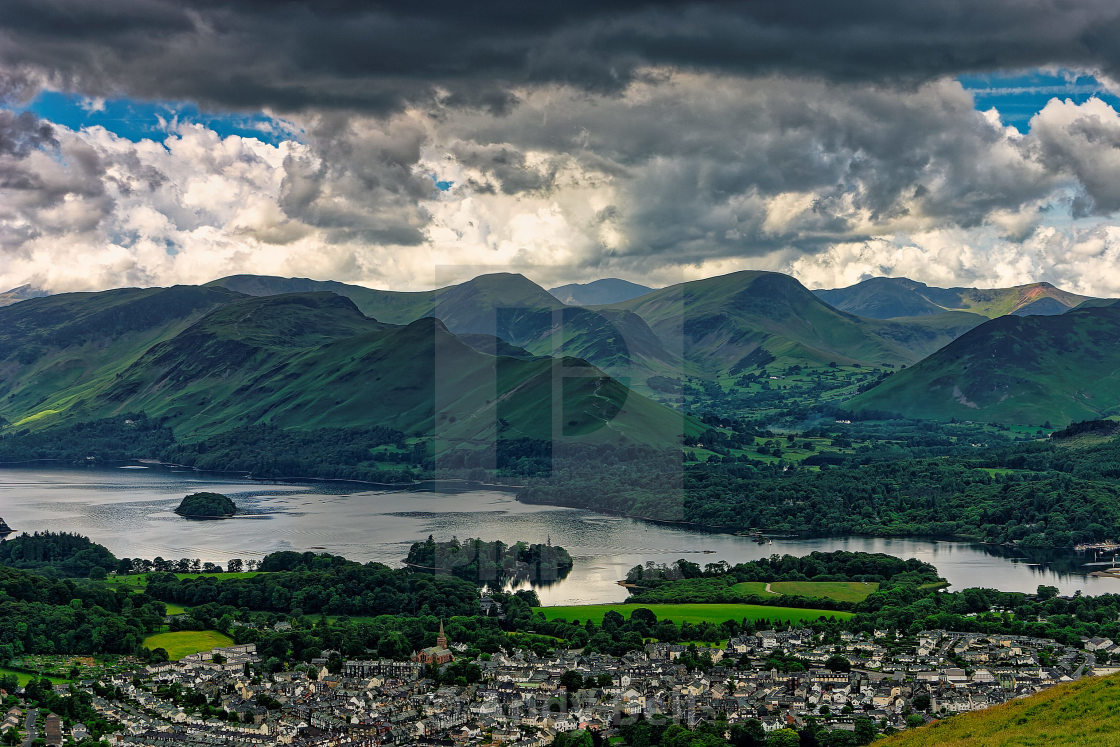 """""""Keswick and Derwent Water from Latrigg"""" stock image"""