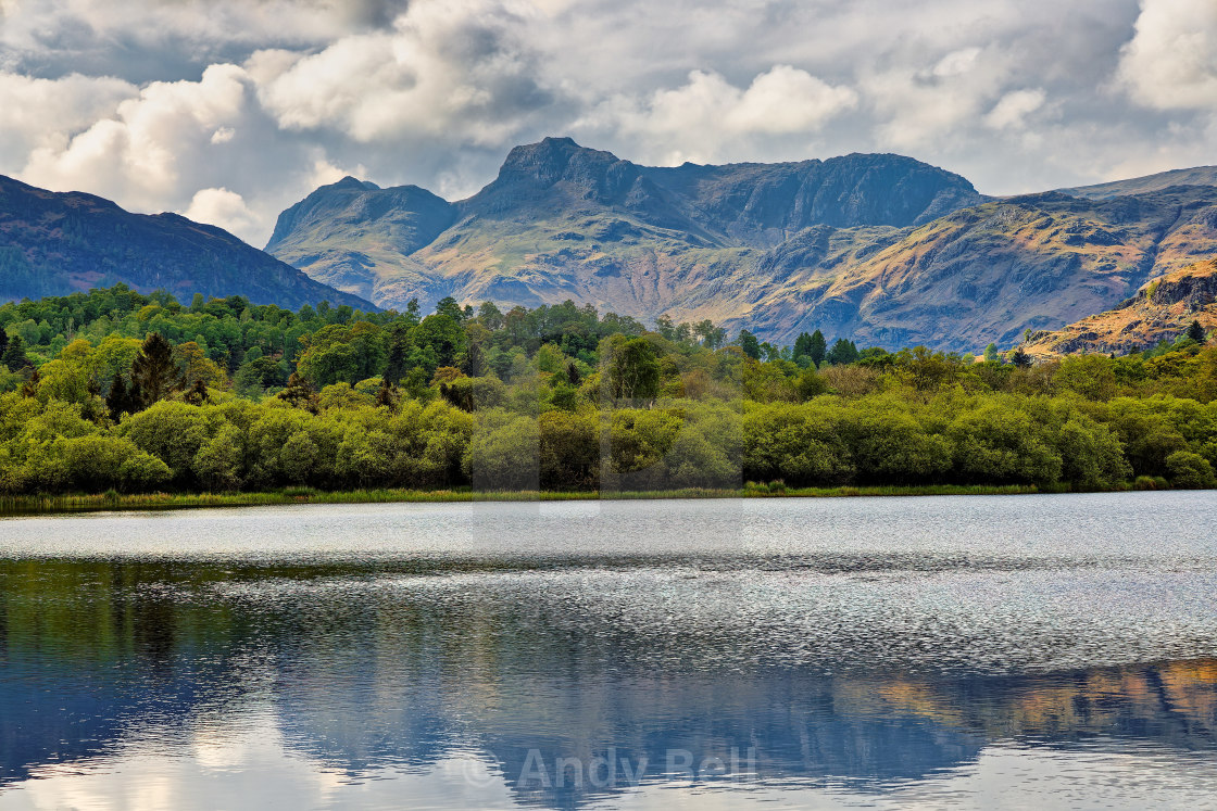"""""""Langdale Pikes from Elterwater"""" stock image"""