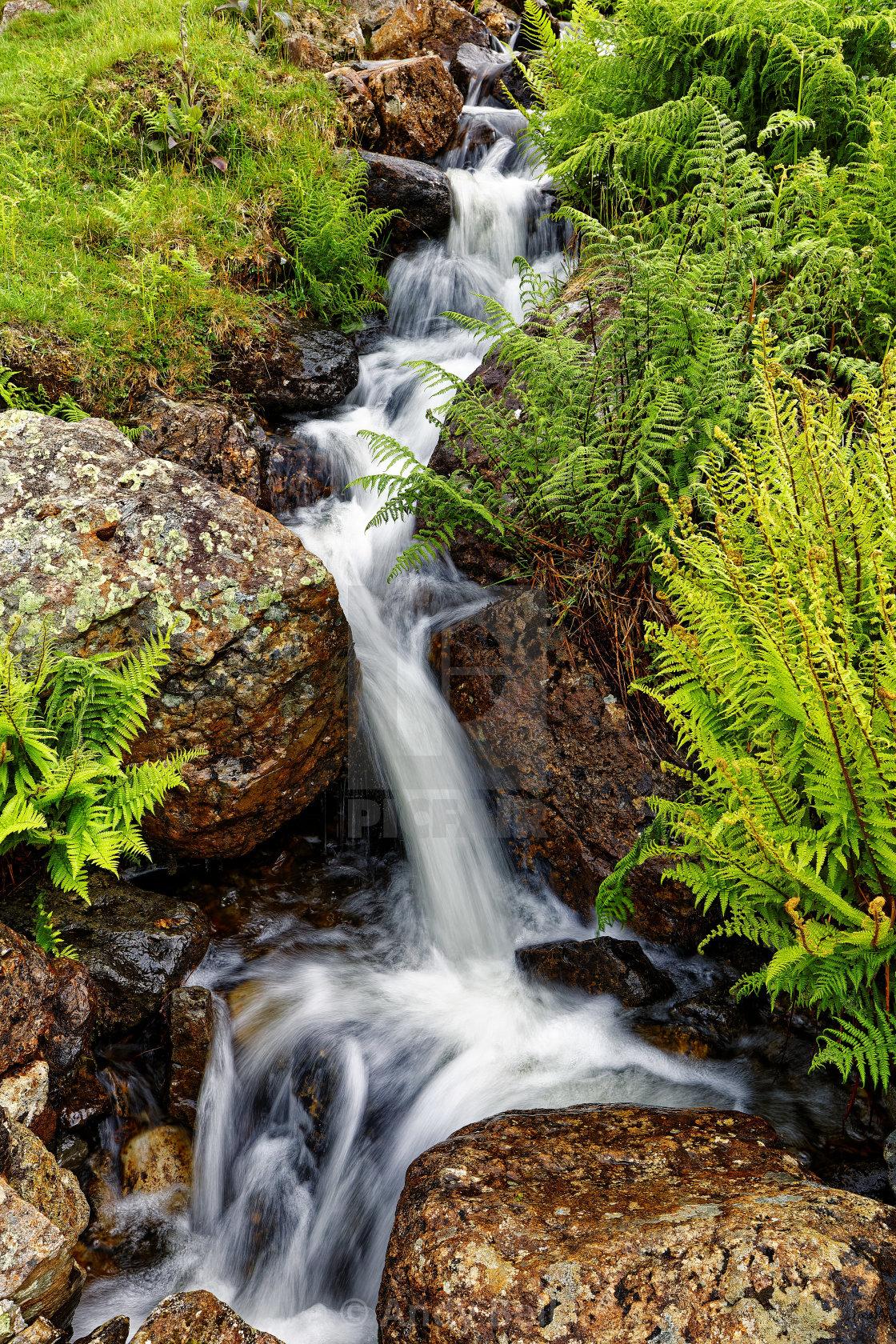 """""""Mini Waterfall, near Alcock Tarn"""" stock image"""