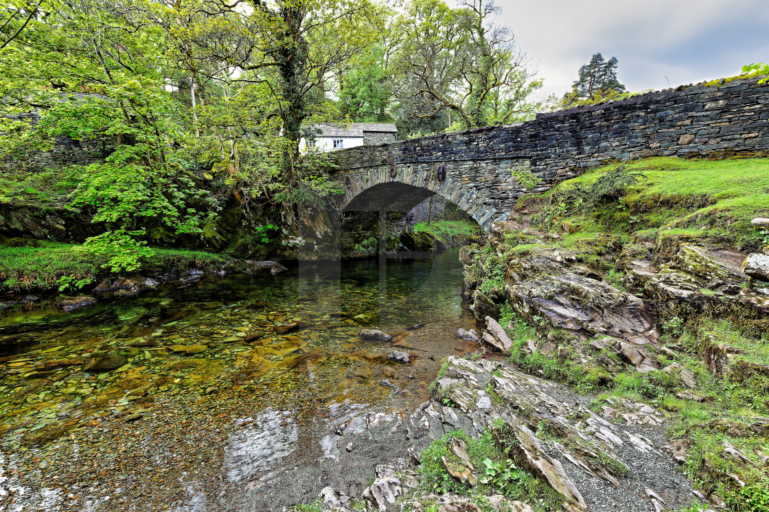 """The Bridge at Elterwater"" stock image"