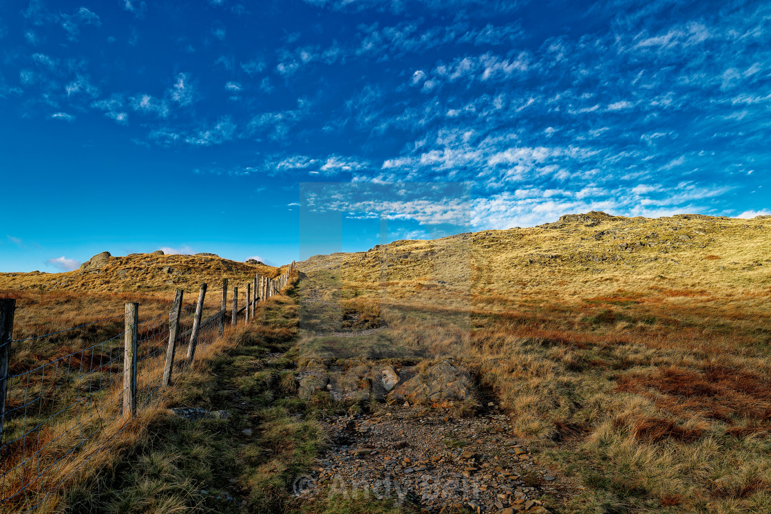 """""""The path from Honister Slate Mine to Dale Head"""" stock image"""