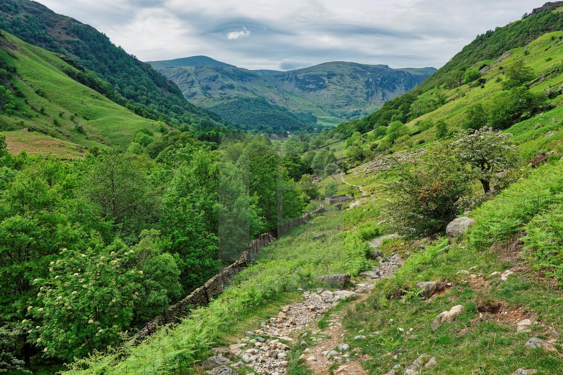 """The path from Stonethwaite to Eagle Crag"" stock image"