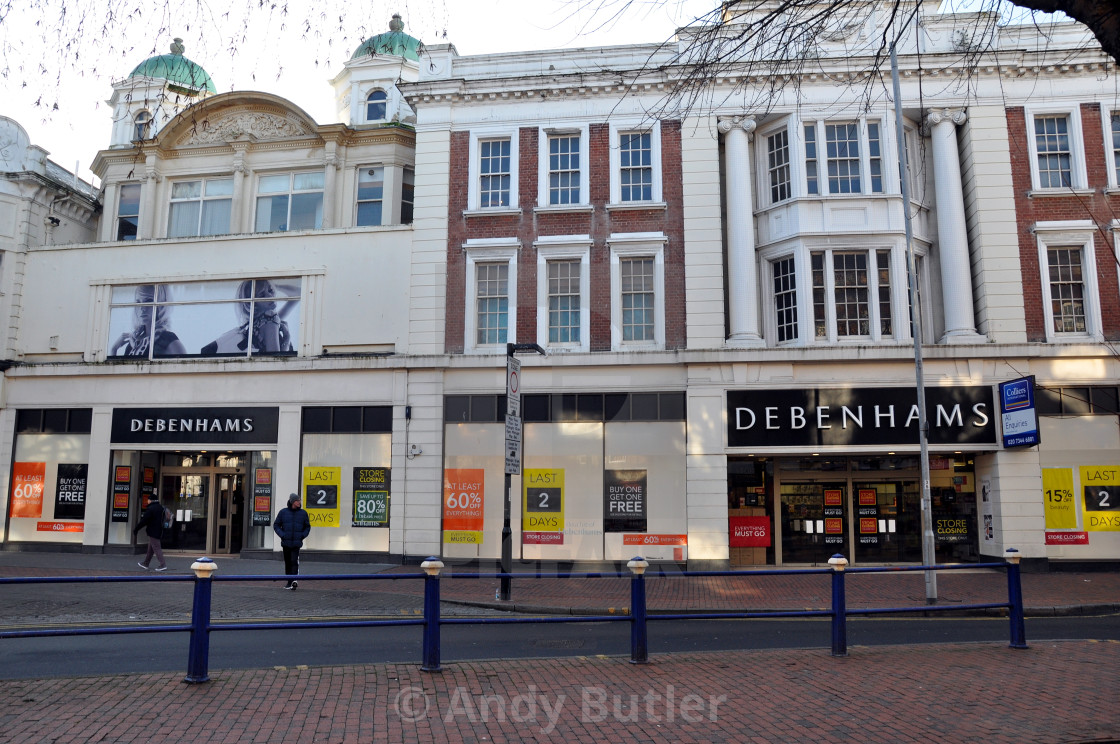 """""""Debenhams store, Eastbourne. The day before the store closed. 18th January 2020"""" stock image"""
