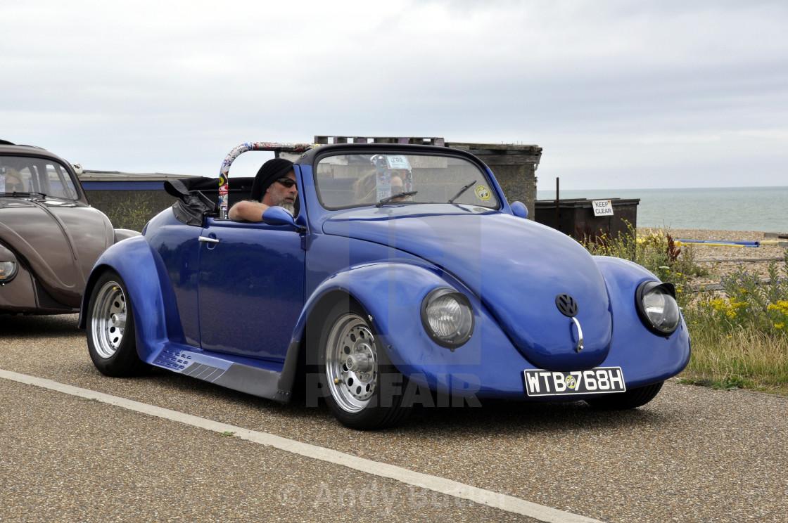 """Blue 1970 VW Beetle"" stock image"