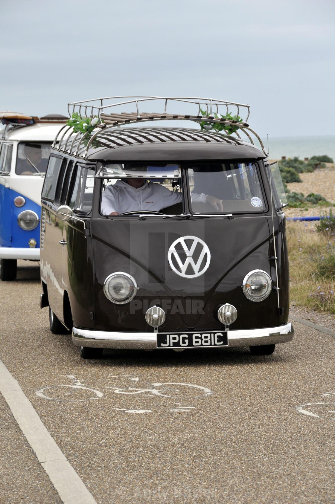 """Black 1965 VW type 2 camper van."" stock image"