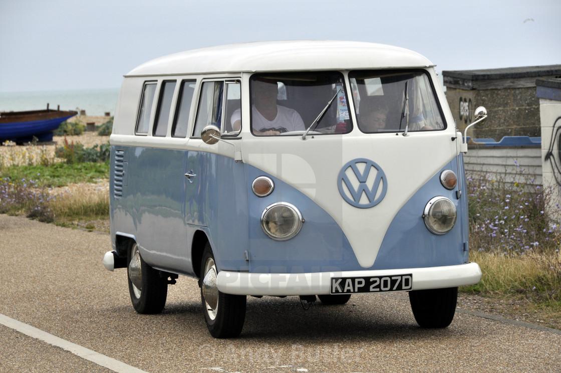 """1971 VW camper van. colour white over blue."" stock image"