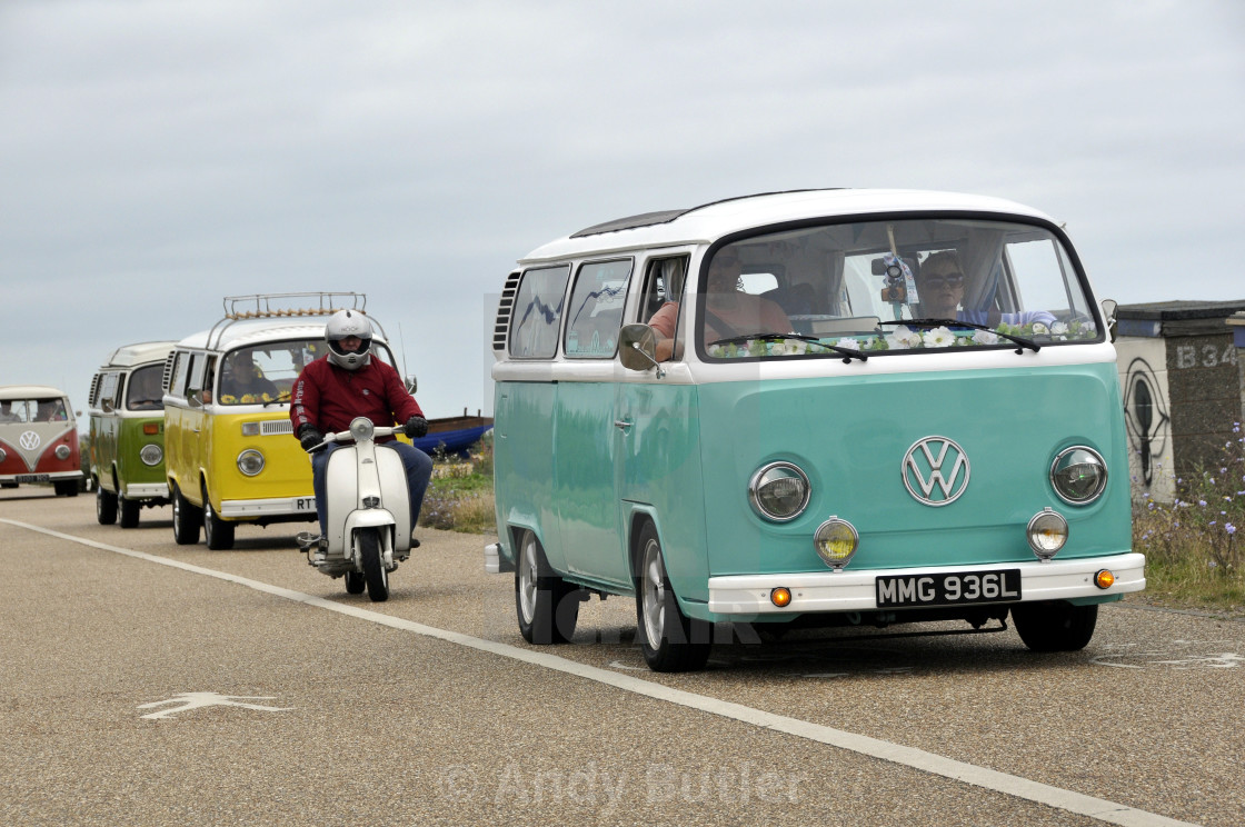 """""""VW camper vans and scoote"""" stock image"""