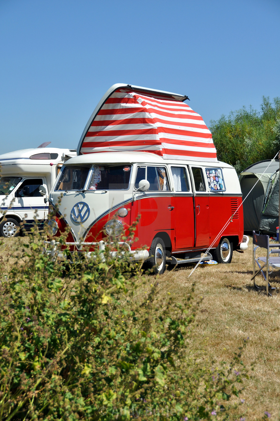 """""""VW Camper Van with roof raised at Beach Life Festival, Eastbourne 2018."""" stock image"""