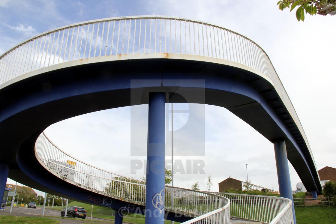 """Footbridge, Langney Rise, Eastbourne, England, near Langney Shopping Centre."" stock image"