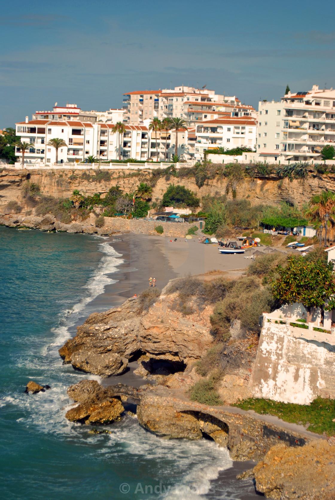 """""""Nerja, Playa El Salon, Andalusia, Costa del Sol, Spain"""" stock image"""