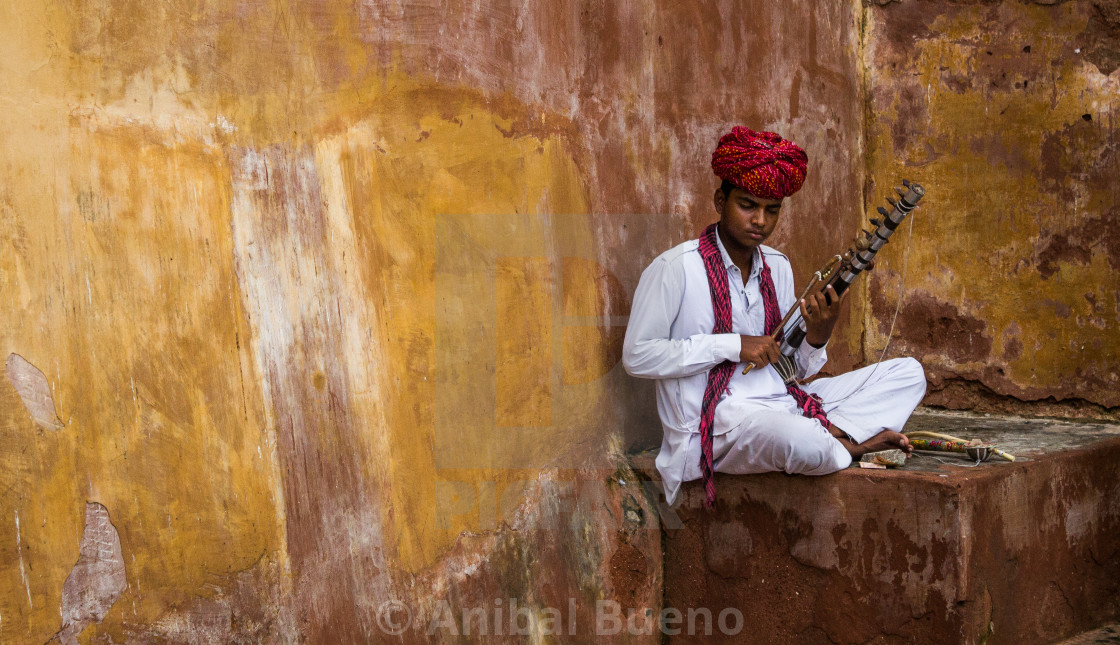 """""""Musician from Jaipur"""" stock image"""