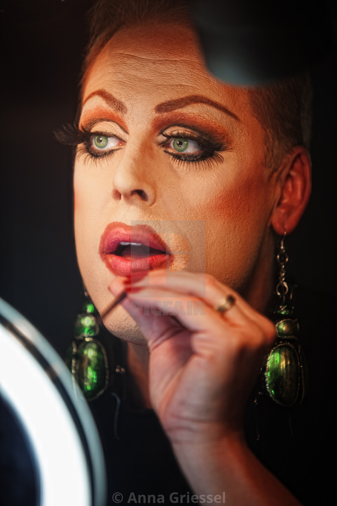 """""""Man in Drag with Lipstick"""" stock image"""