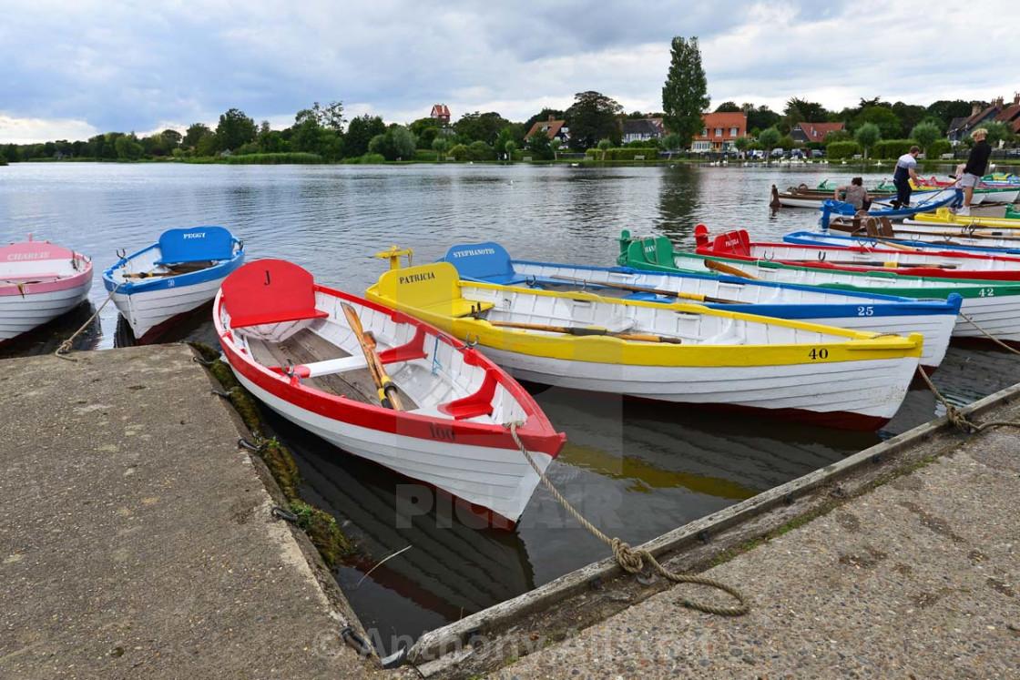 """Boats moored at Thorpeness"" stock image"