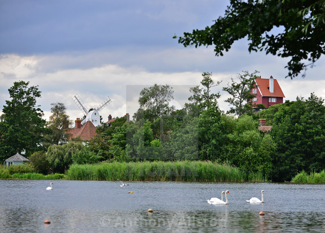 """View across the mere, Thorpeness"" stock image"
