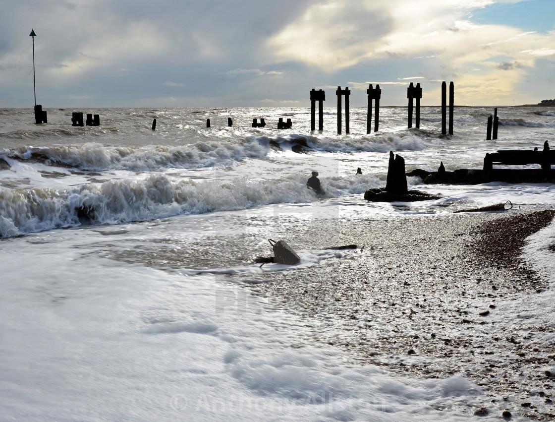 """Beach at Bawdsey, Suffolk"" stock image"