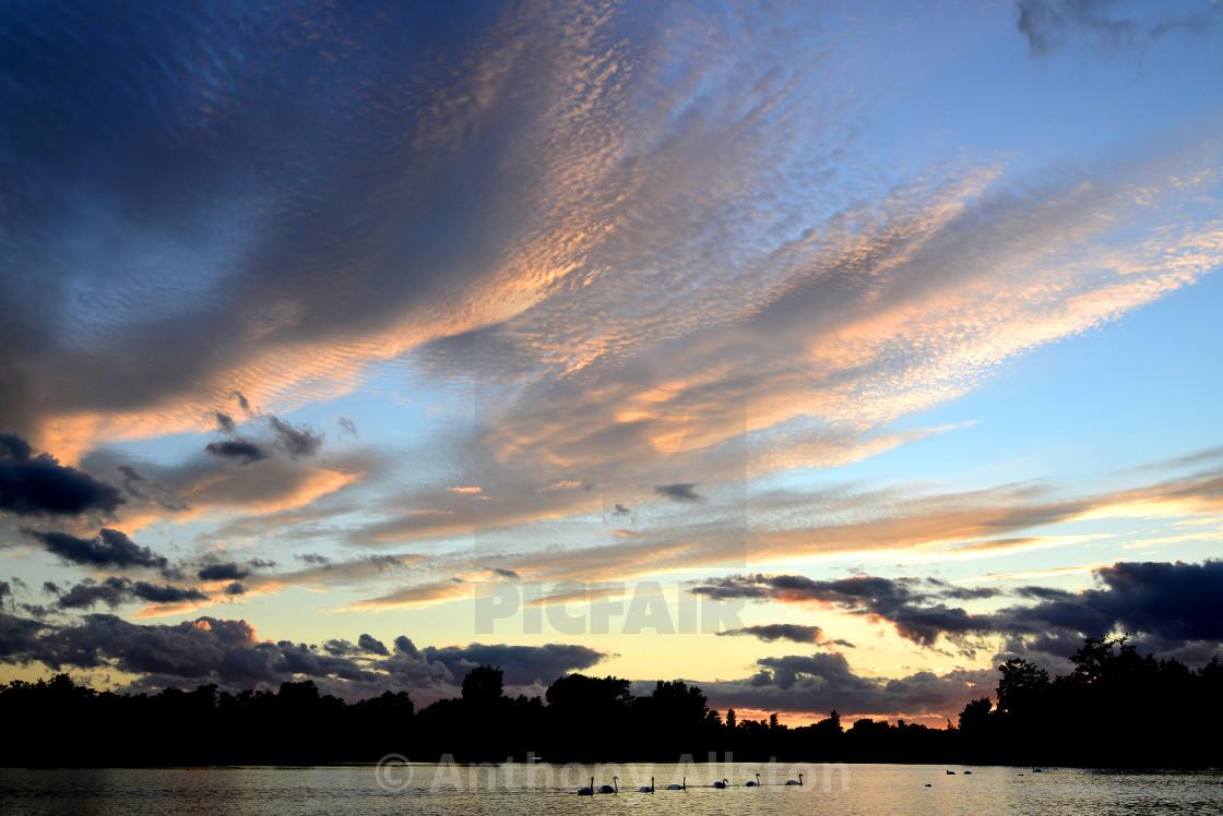"""Sunset at Thorpeness, Suffolk, UK"" stock image"