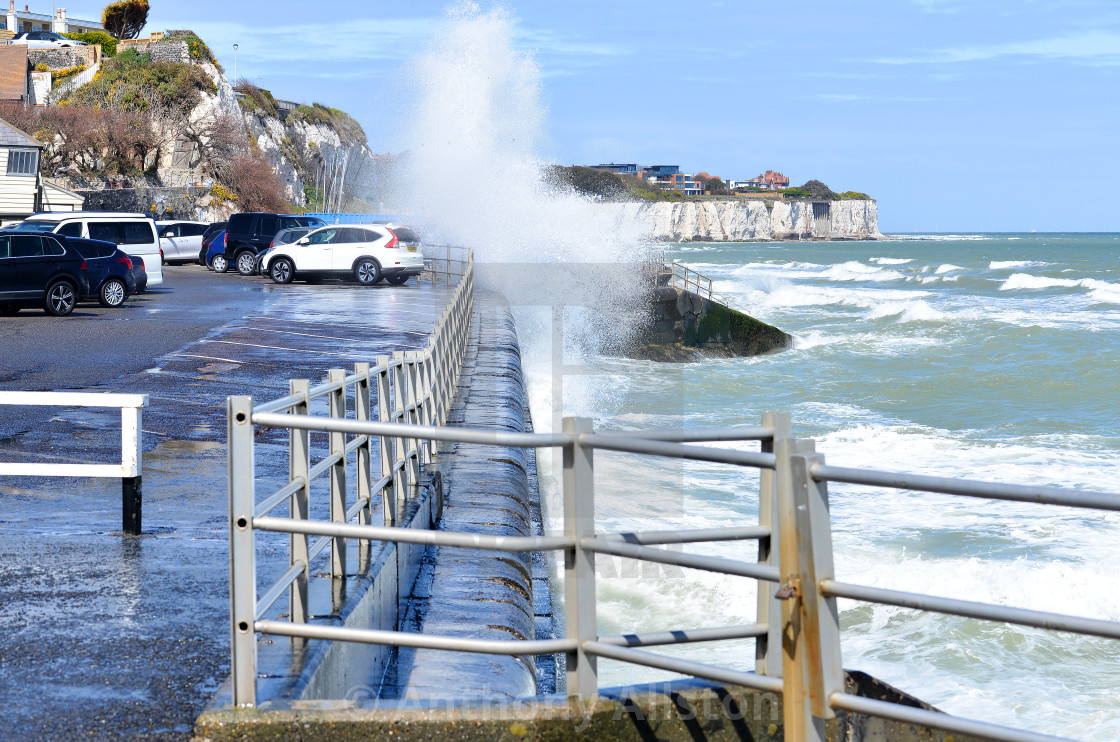 """""""Broadstairs harbour wall at high tide"""" stock image"""