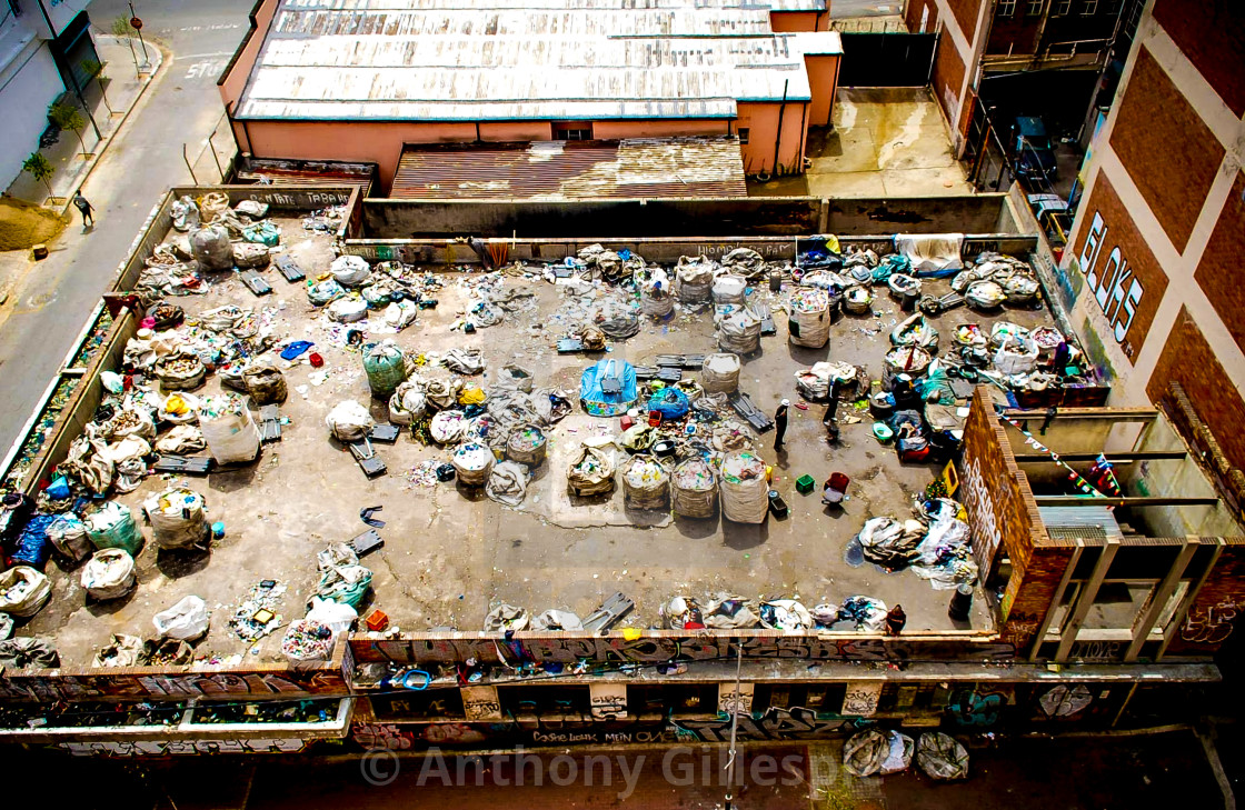 """""""Rooftop Recycling Sorting Johannesburg"""" stock image"""