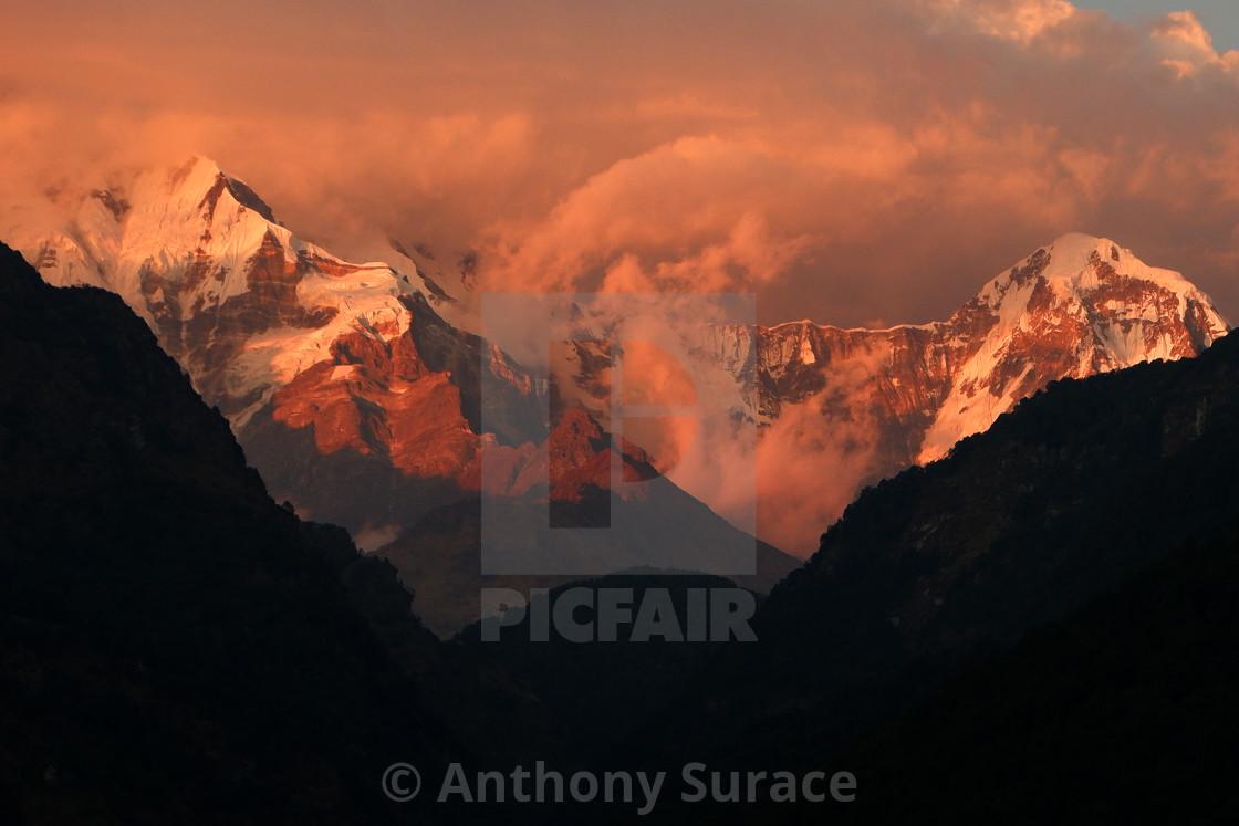 """Annapurna Sunset"" stock image"