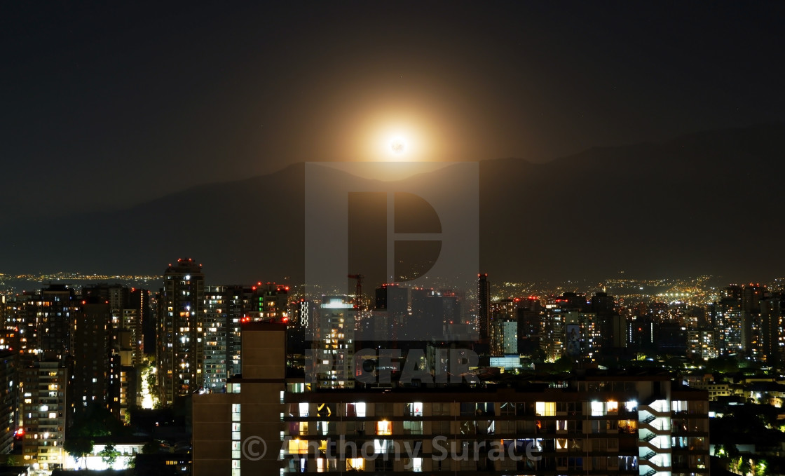 """Moonrise over Santiago"" stock image"