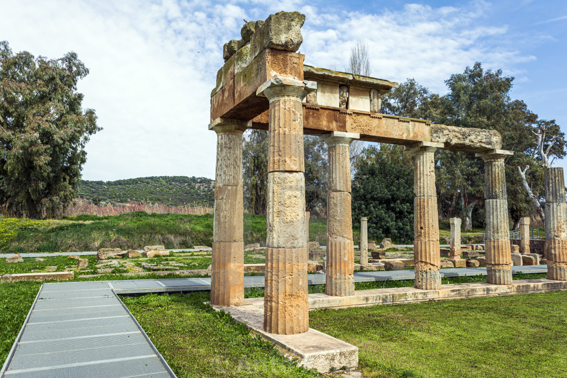 """Temple of Artemis in archaeological site of Brauron, Attica, Greece"" stock image"
