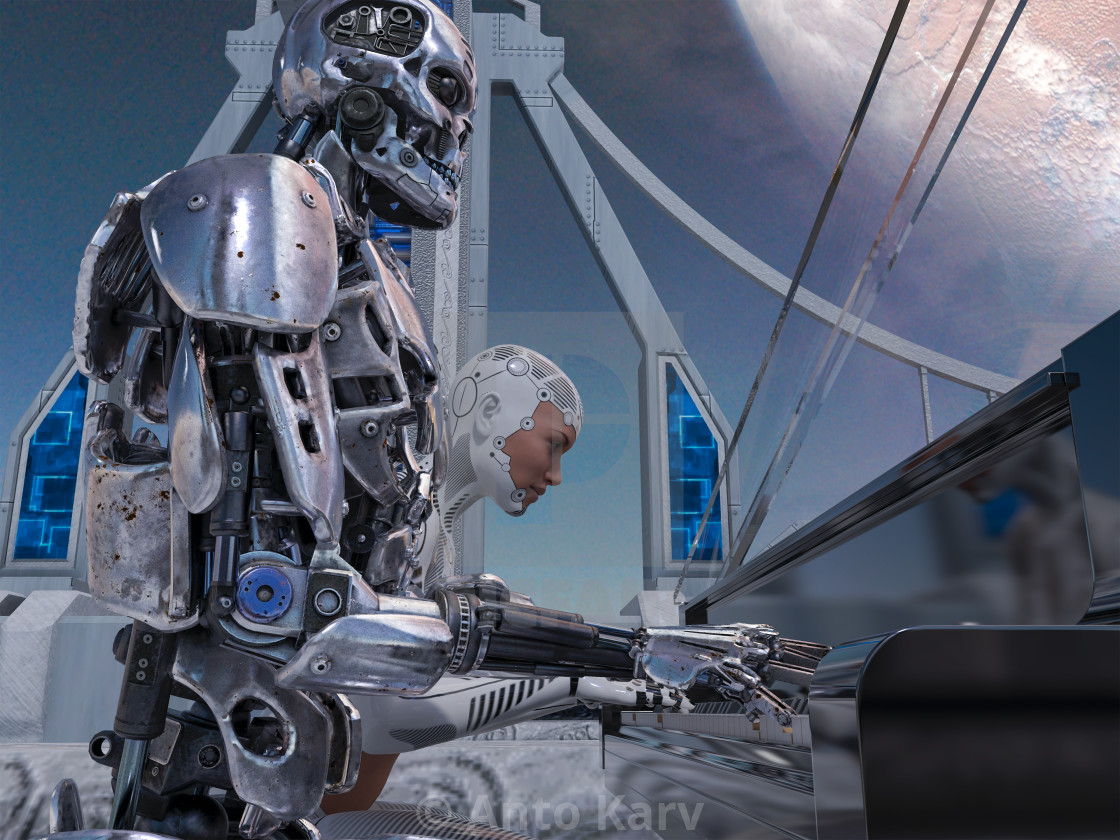 """""""Close up of a robot and a woman playing piano with a big planet background"""" stock image"""
