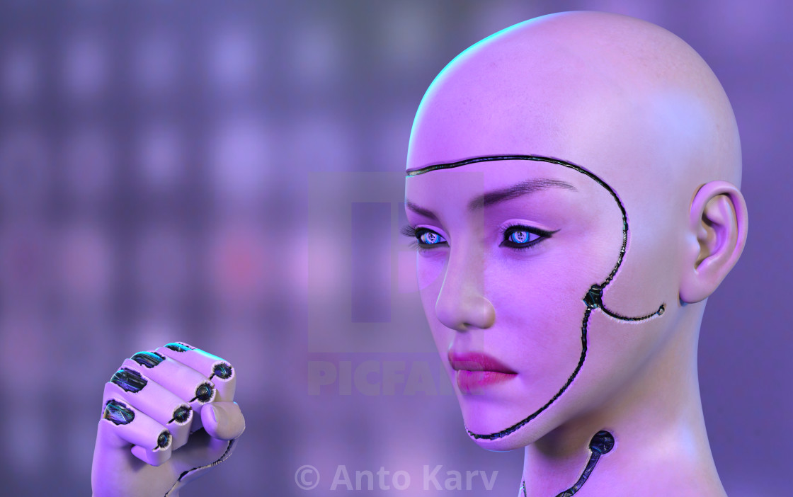"""Female robot face and hand"" stock image"
