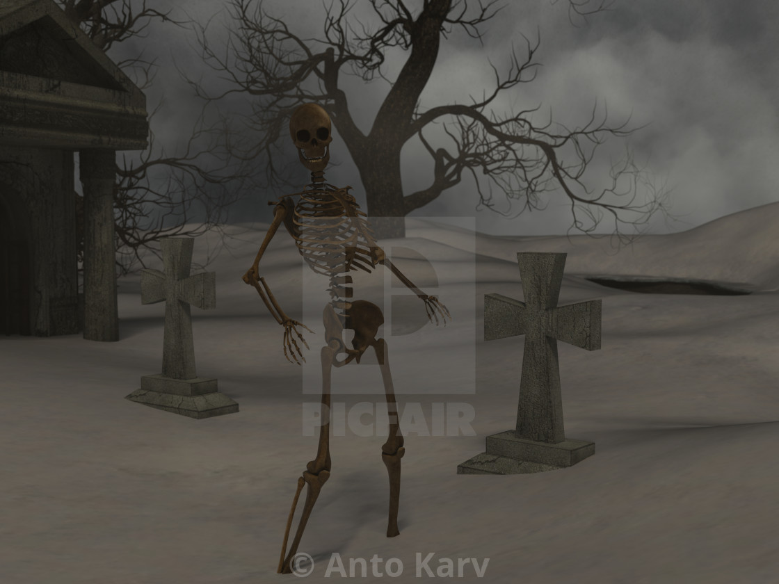"""Walking skeleton in the spooky night near a crypt"" stock image"