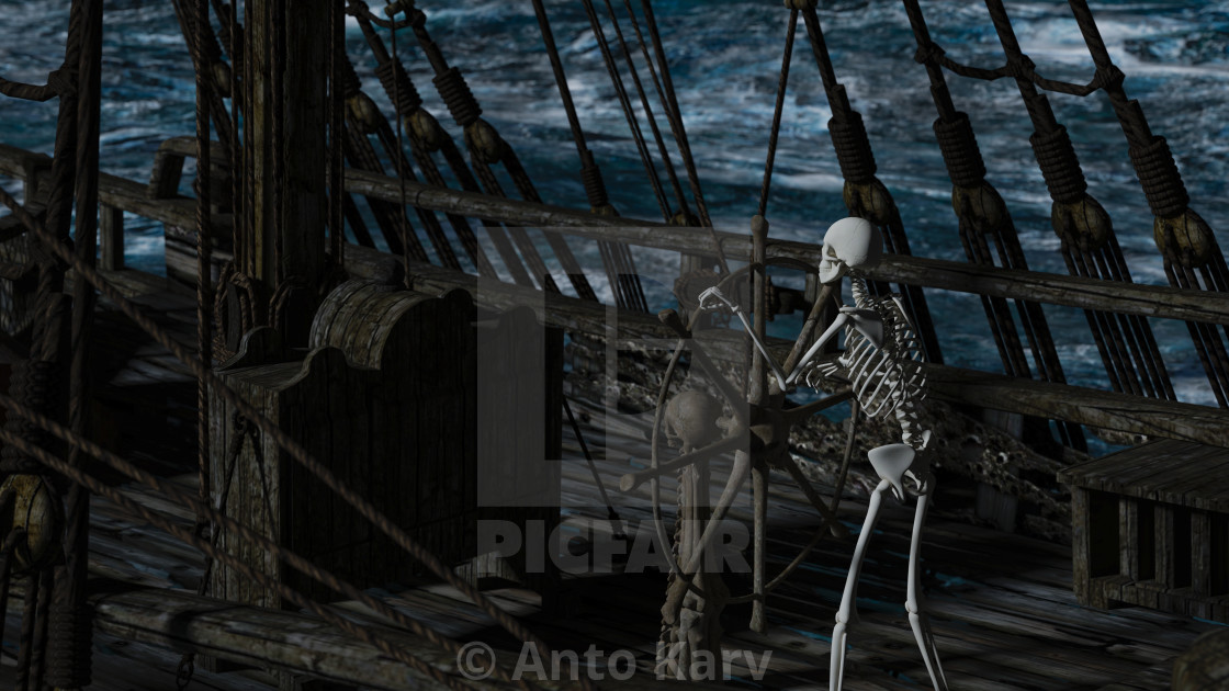 """""""Captain skeleton in a ghost sailboat by night time"""" stock image"""