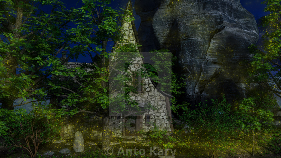 """""""Stoned house in a fairytale forest at moonlight"""" stock image"""