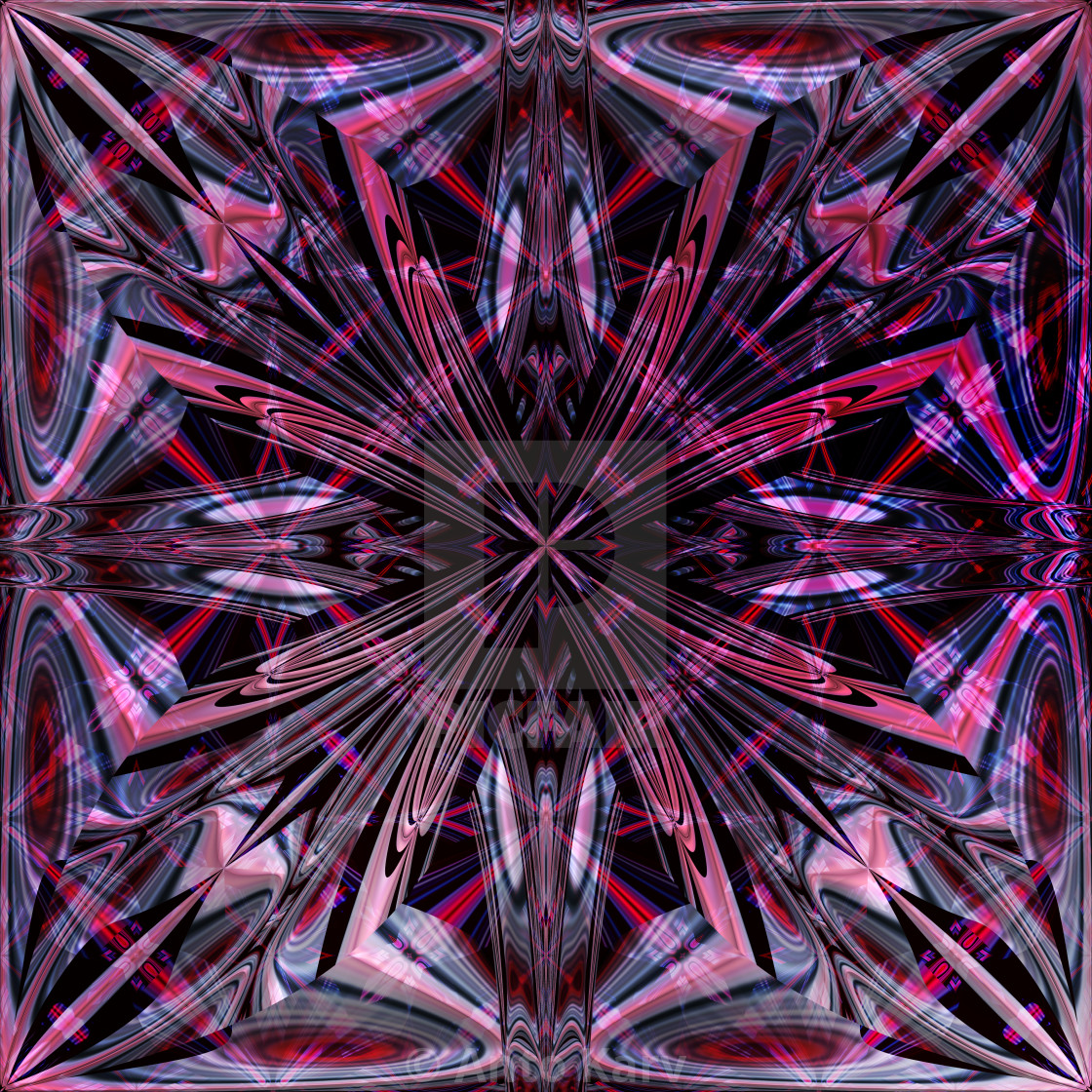 """""""Symmetrical fractal pattern. Computer generated graphics."""" stock image"""