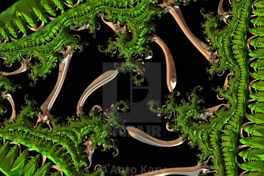 """""""Green fractal leaves on an abstract black background"""" stock image"""