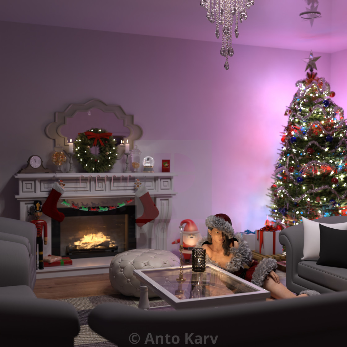 """Beautiful young woman lying near the Christmas tree. Beautiful girl celebrates Christmas over the living room."" stock image"