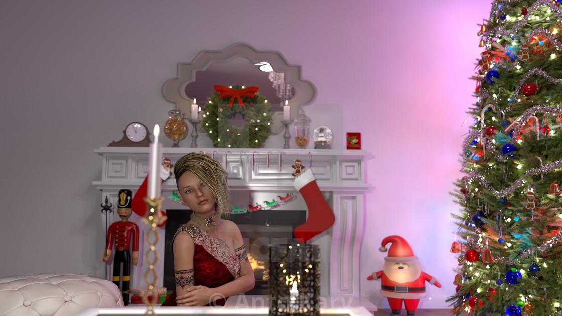 """""""Beautiful young woman near the Christmas tree. Beautiful girl celebrates Christmas over the living room."""" stock image"""