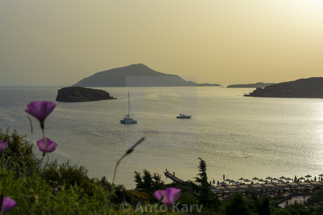 """Beautiful sunset in athens region. Greece sea sunset"" stock image"