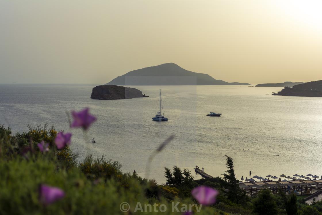 """Beautiful sunset in athens region. Greece sea sunset"" stock image"