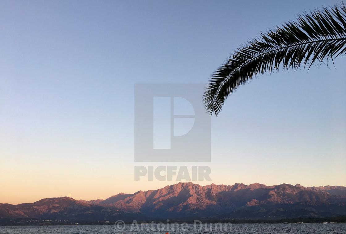 """Sunrise over Calvi"" stock image"