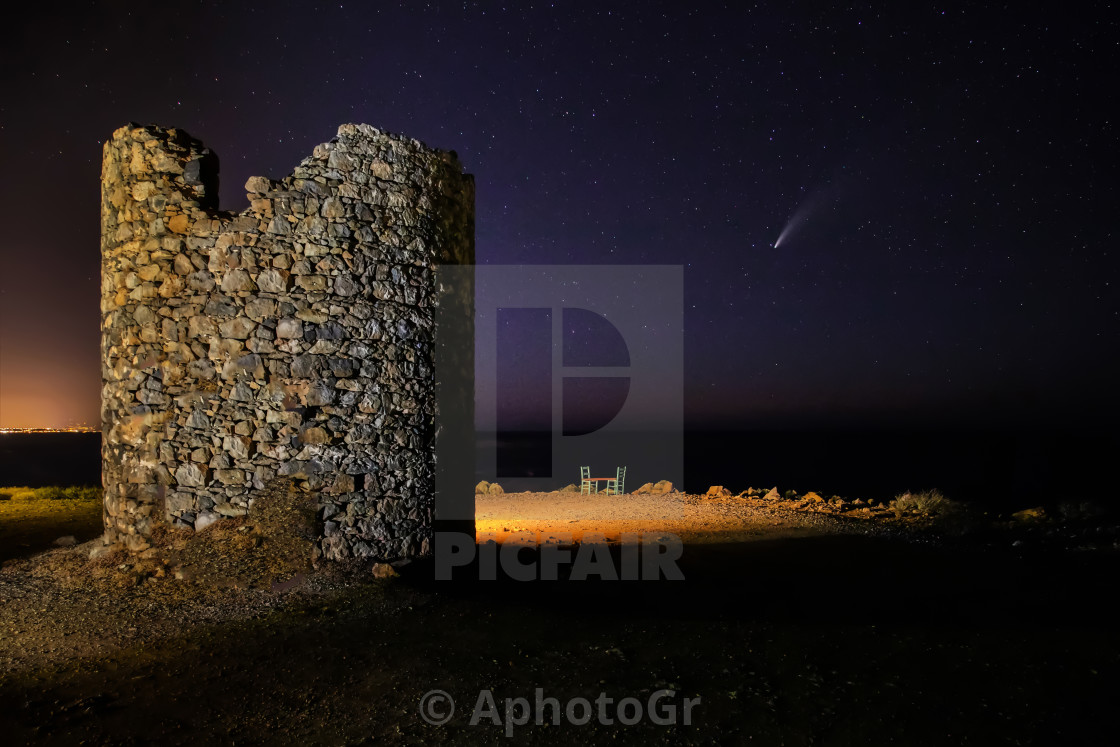 """""""Comet Neowise and ruins of an old mill"""" stock image"""