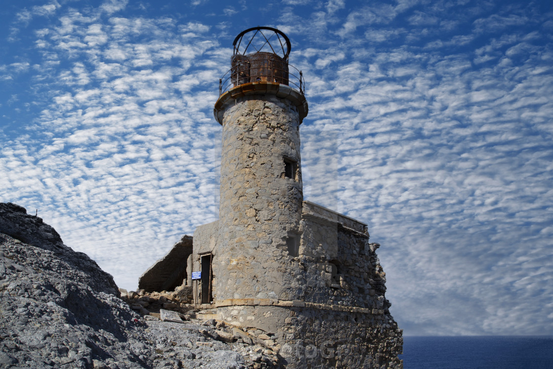 """Aforesmenos lighthouse in Crete"" stock image"