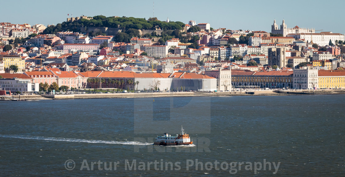"""Ferryboat crossing the Tagus River"" stock image"