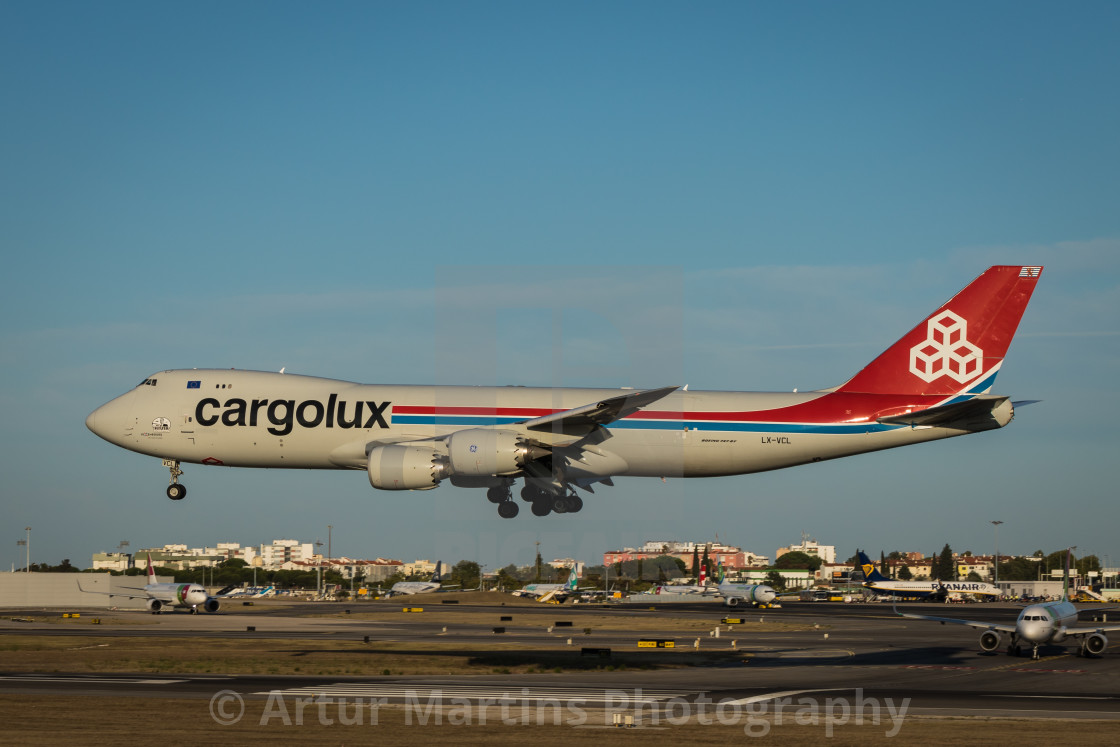 """Boeing 747 of cargo airline Cargolux landing at Lisbon Airport"" stock image"