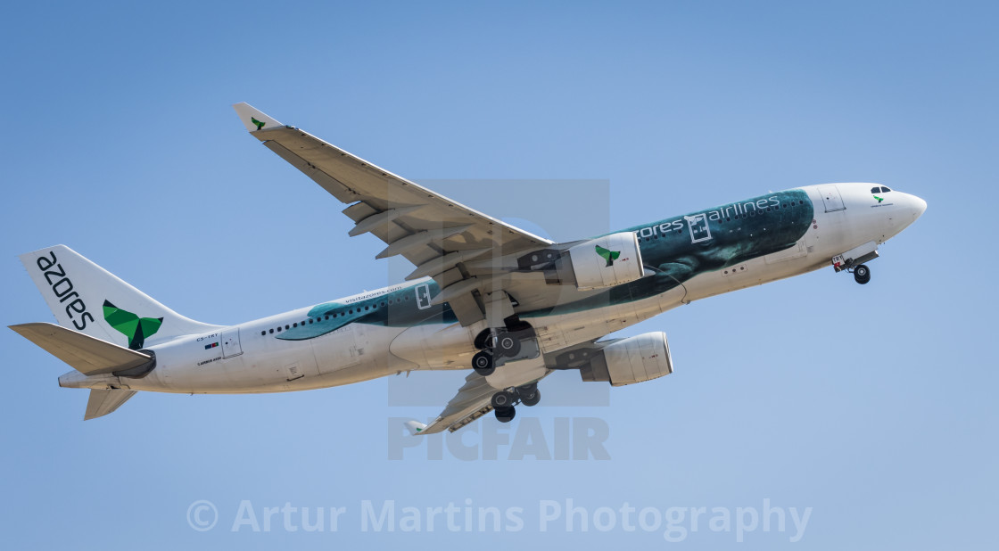 """Airliner Airbus A330 CS-TRY of Azores Airlines taking off"" stock image"