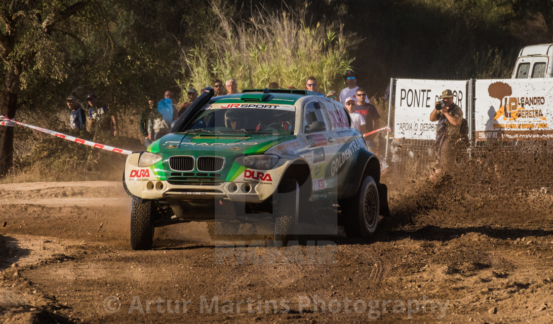 """A BMW Evo X1 off-road race car during the Baja TT Portalegre 500 2017"" stock image"